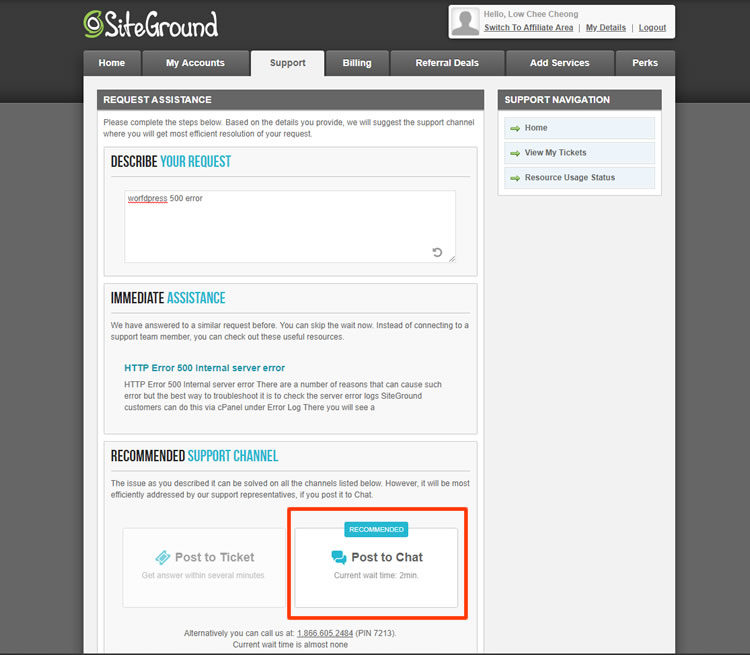 SiteGround Live Chat Record