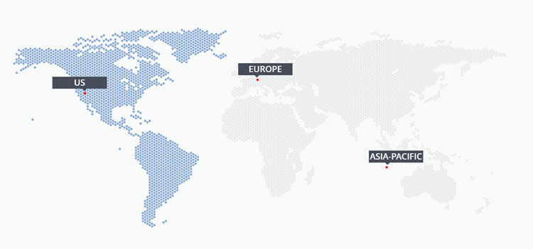 Location of WebHostFace data centers in three continents.