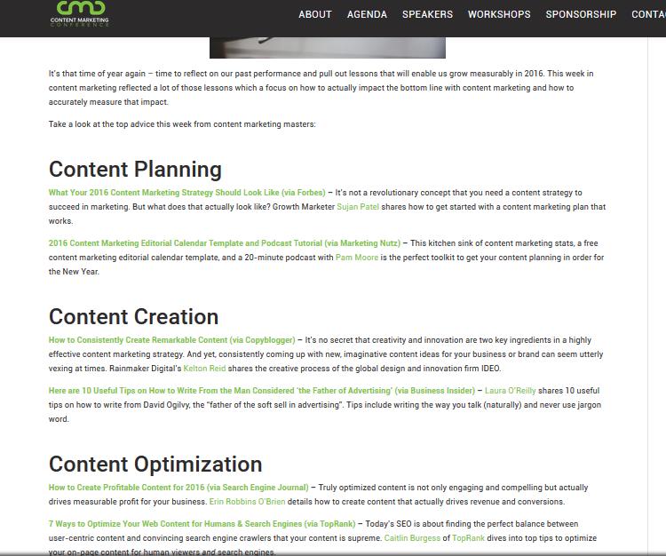 ตัวอย่างโพสต์ Roundup จาก ContentMarketingConference.com