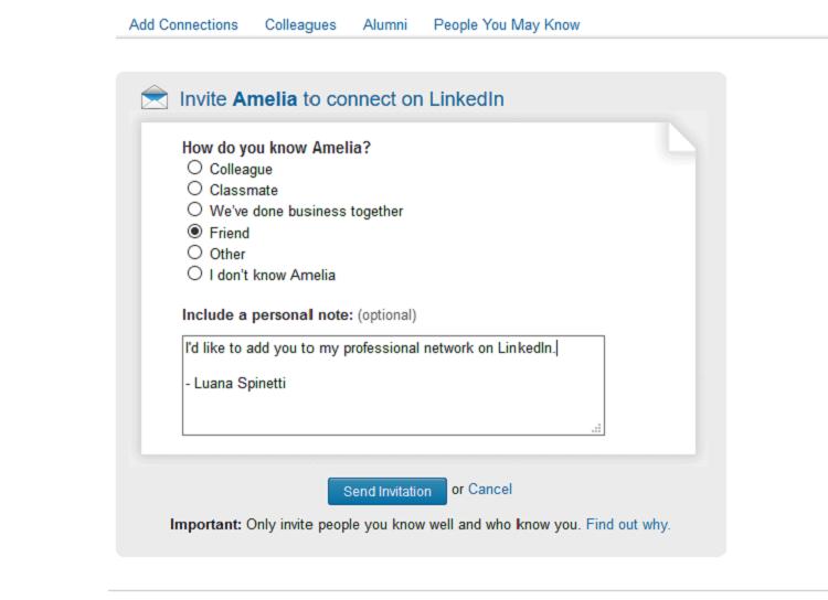 Messaggio di introduzione di LinkedIn per richieste di connessione