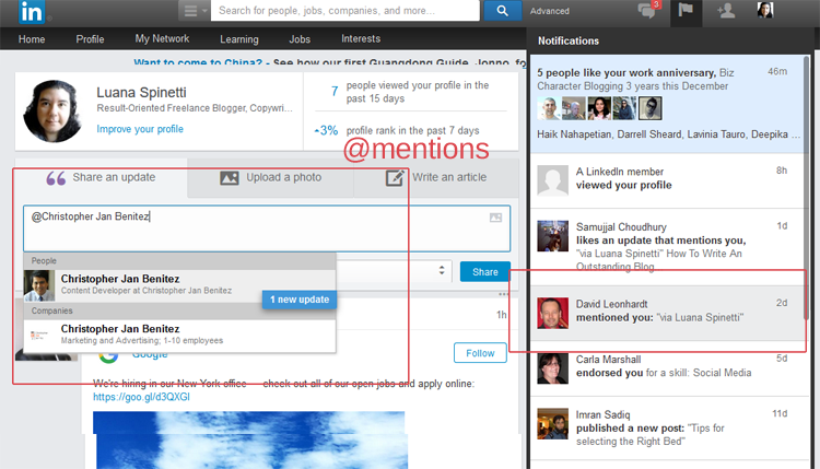 How @mentions work on LinkedIn