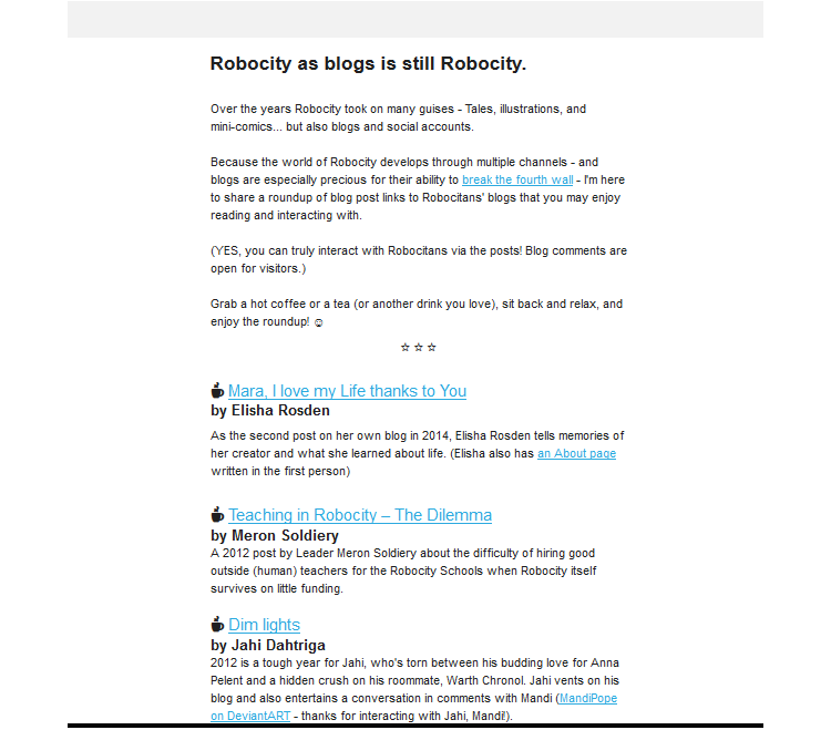 Roundup email for the Robocity World elite newsletter