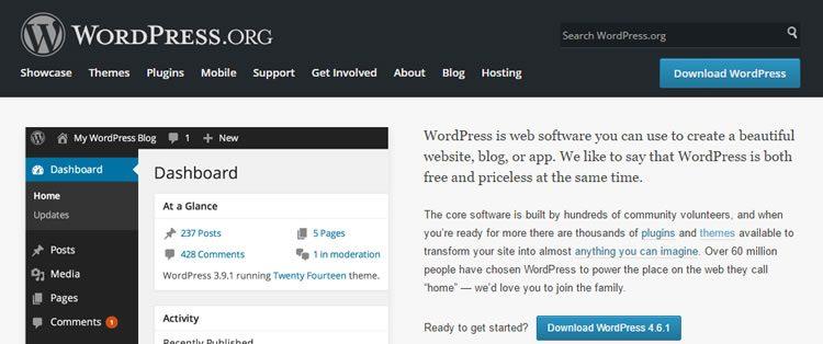 WordPress.org homepage.
