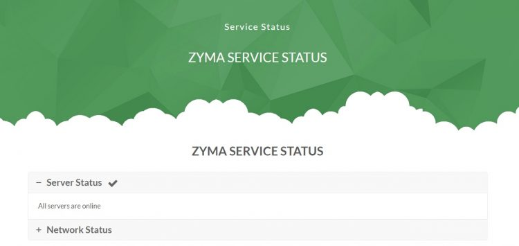 Zymaサーバーのステータス