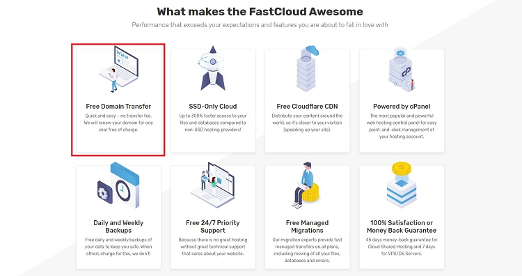 fastcomet review - free domain transfer