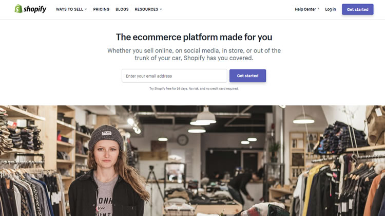 Screenshot of Shopify