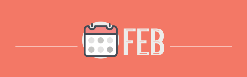 graphic with the abbreviation for February with a small calendar icon and a dark peach background with white lettering.