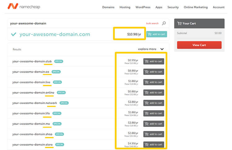 NameCheap Domain pricing