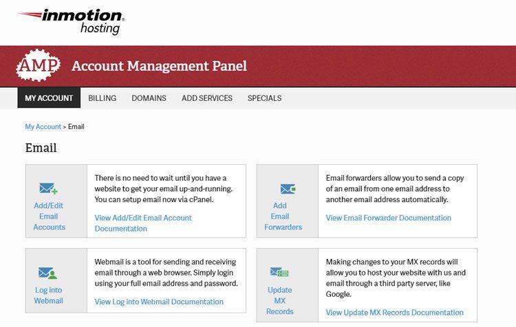 het instellen van e-mails met behulp van inmotion hosting-versterker