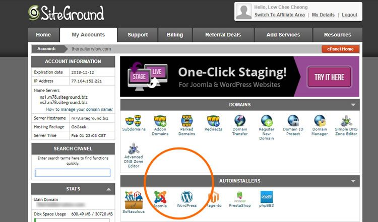 3482c2f83b5 SiteGround cPanel dashboard is customized so it's easy to auto-install  popular apps like WordPress, PrestaShop, and Joomla.