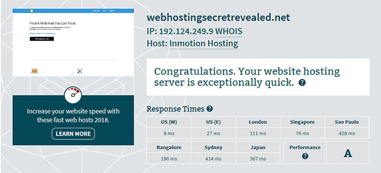 Latency test to choose the best web host
