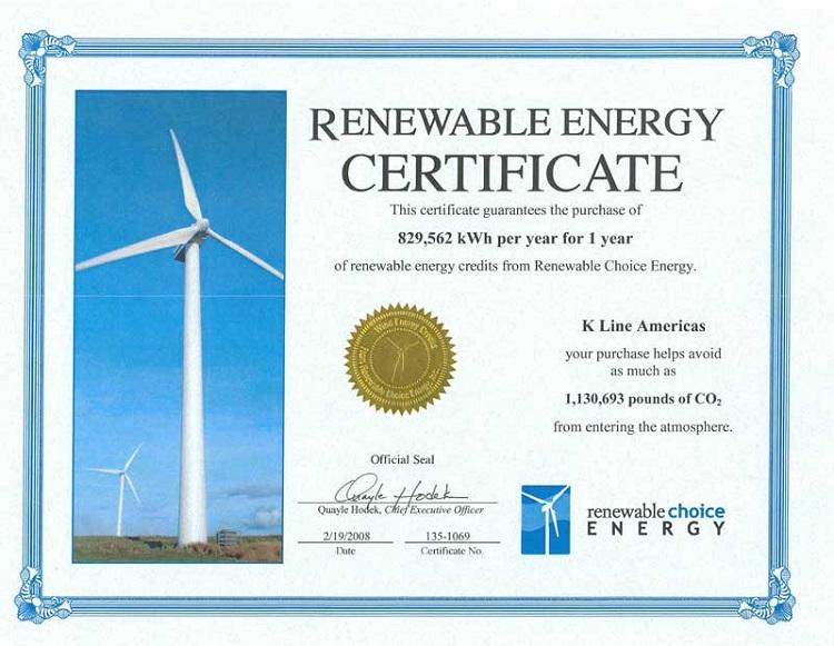 Sample Renewable Energy Certificate (REC).