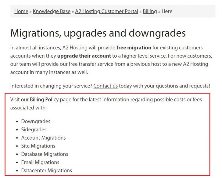 A2 Hosting site migration fees for downgrade