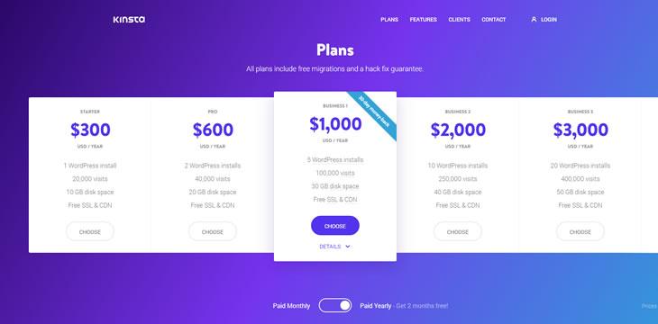 kinsta计划和价格