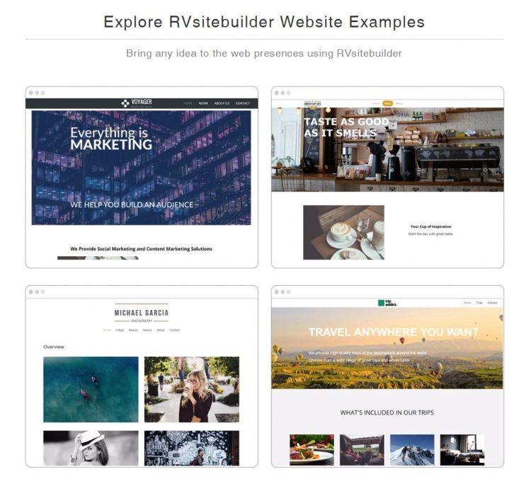 RVSiteBuilder ویب سائٹ مثالیں.