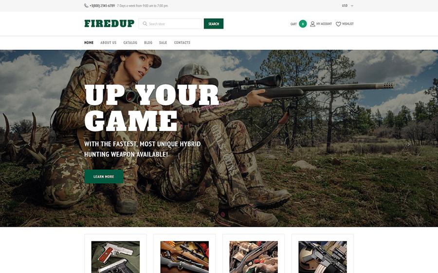 Thème Shopify adaptatif pour magasin d'armes