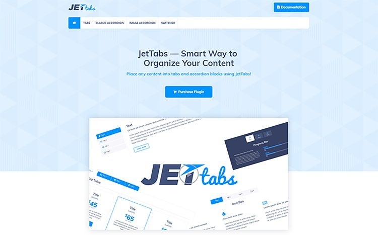 JetTabs - Onglets et accordéons pour le plugin WordPress Elementor Page Builder