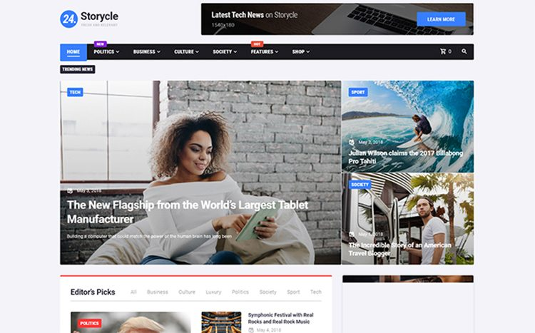 24.Storycle - Multipurpose News Portal Elementor WordPress mavzusi