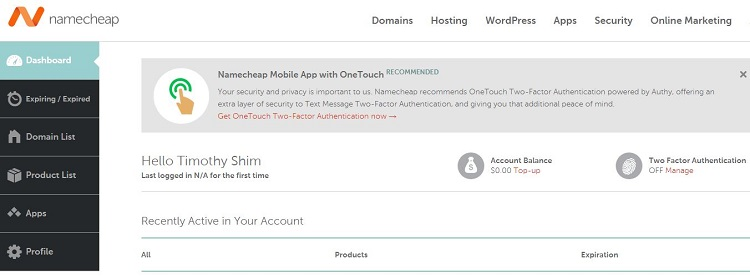 NameCheap Account