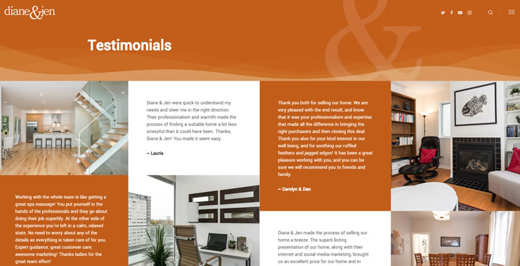 Testimonial page in real estate agent website