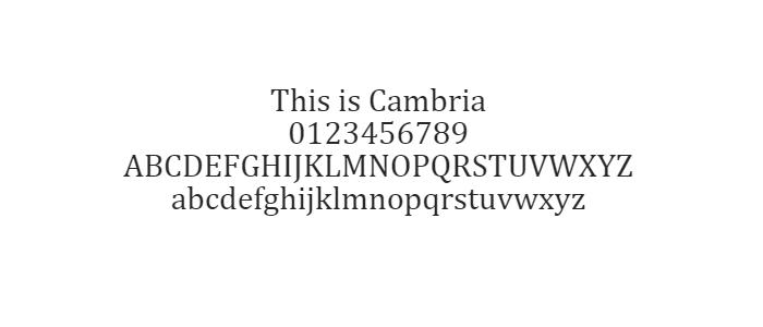Phông chữ An toàn trên Web - Cambria