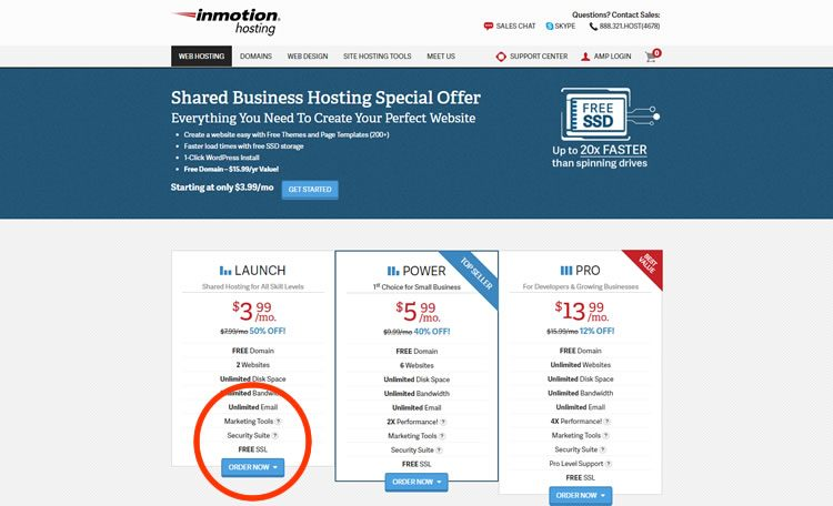 Ordina InMotion Hosting per l'hosting del blog.