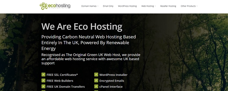 EcoHosting UK - Type of Green Certification: VER