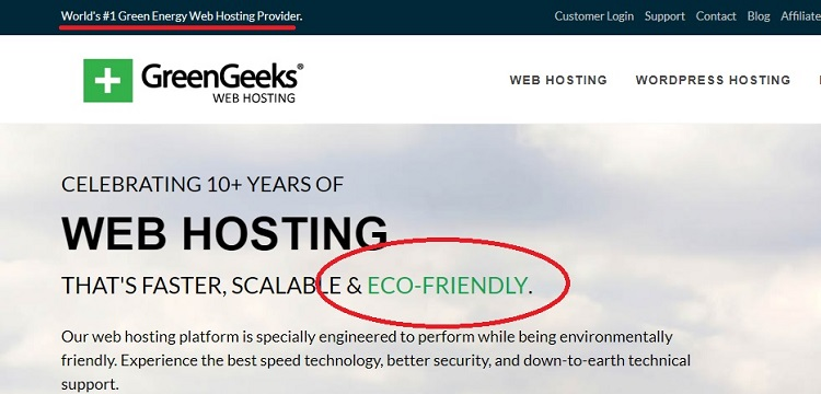 GreenGeeks not only goes green but also ties it into their marketing strategy.