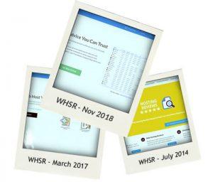 Istantanee della homepage di WHSR - 2014, 2017, 2018.