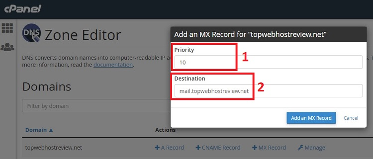 Setting up MX record of your custom email inbox in cPanel