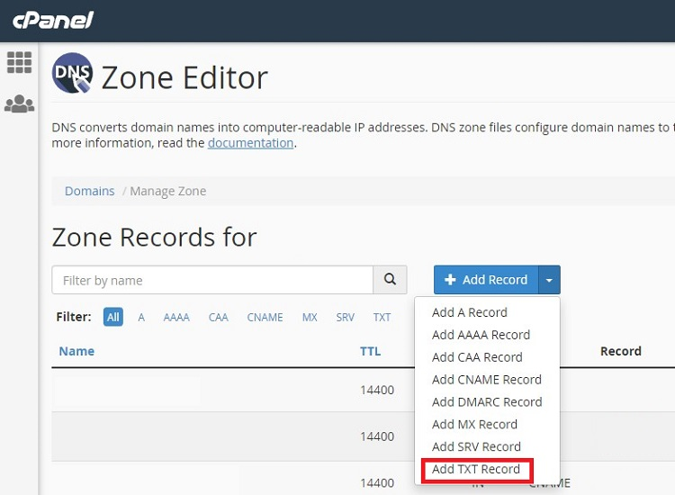 Configuring email SPF record in cPanel