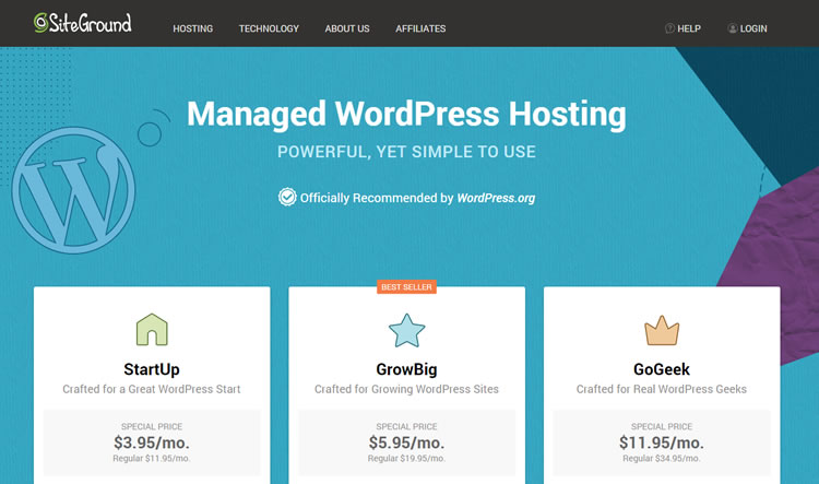 SiteGround WordPress Hosting plans and pricing
