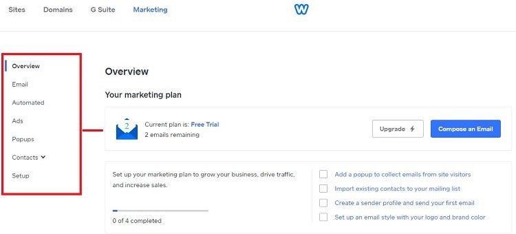 Web marketing options at Weebly