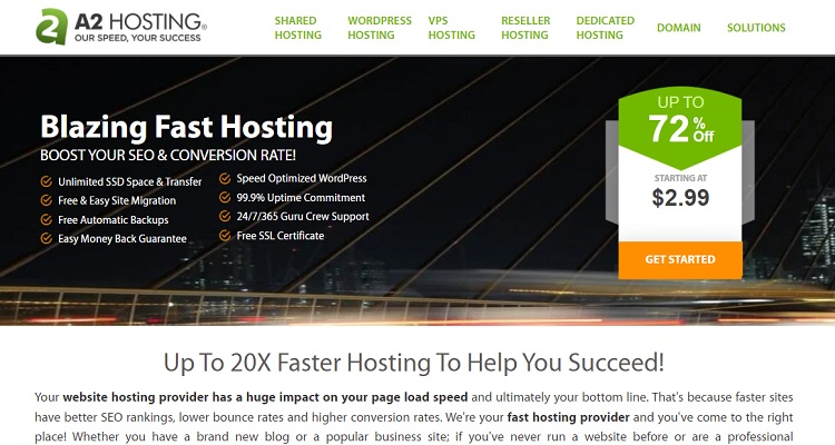 A2 Hosting - Anytime Money Back Guarantee - Free Trial