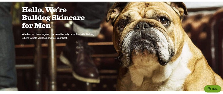 Example of a good About page – Bulldog Skincare's About Page sends a lovable and memorable message.