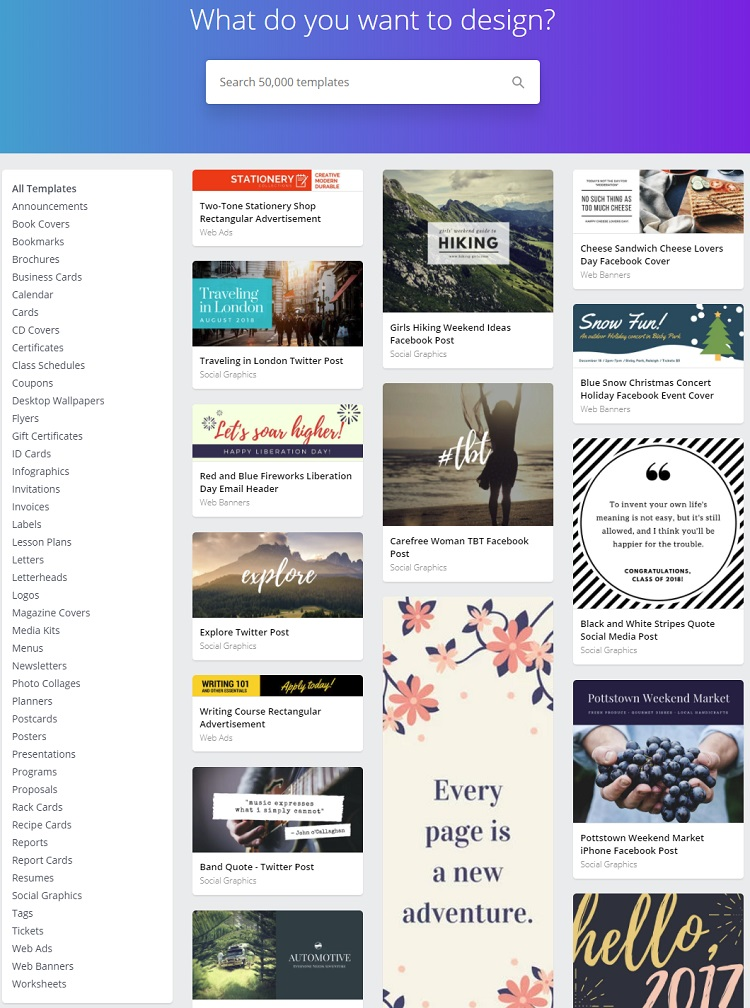 There are many layouts to choose from Canva library