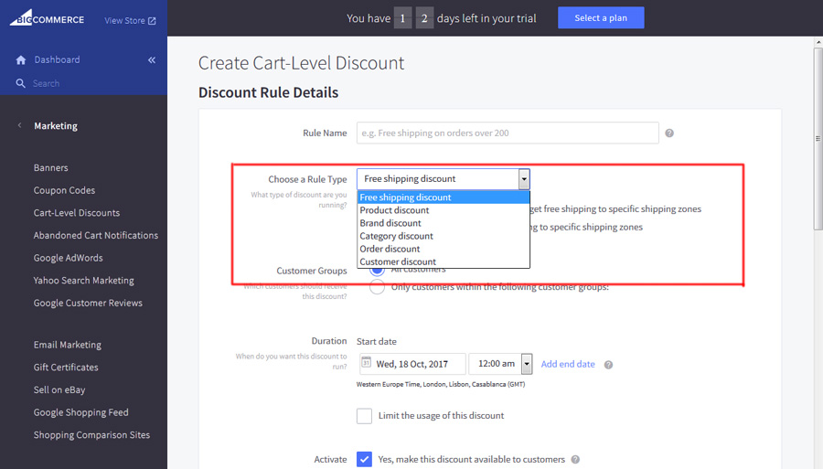 Bigcommerce cart level discount