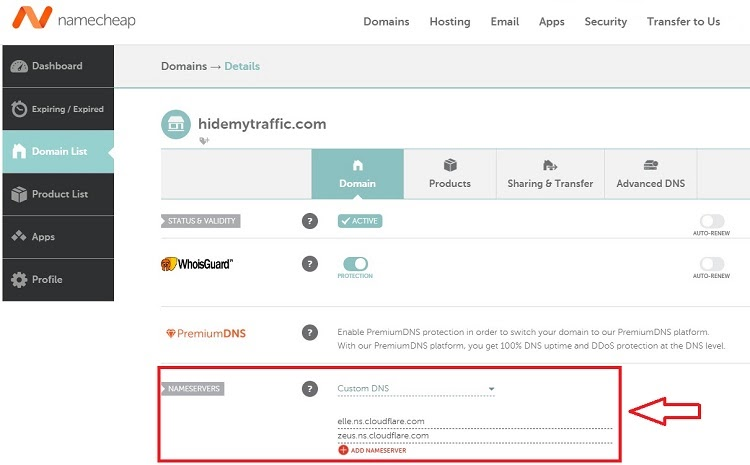 DNS management on Namecheap