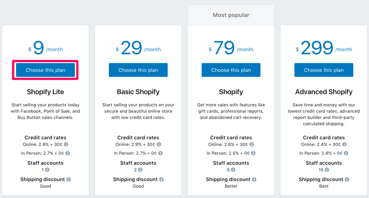 Plans de tarification Shopify