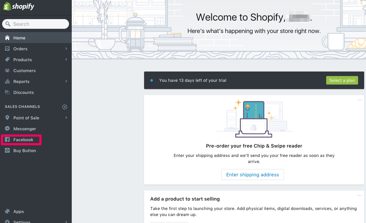 Setting up the Facebook channel in Shopify
