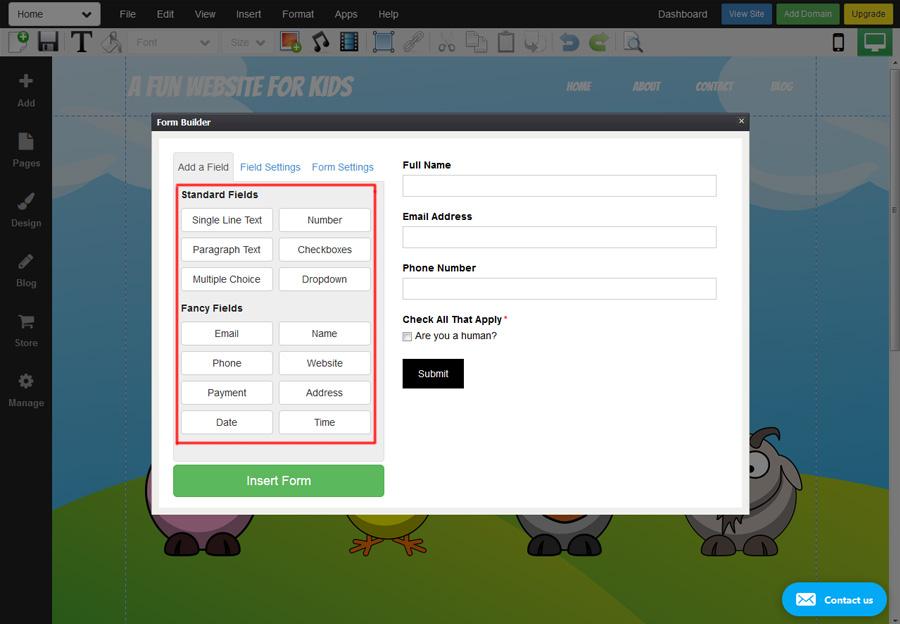 WebStarts form builder.