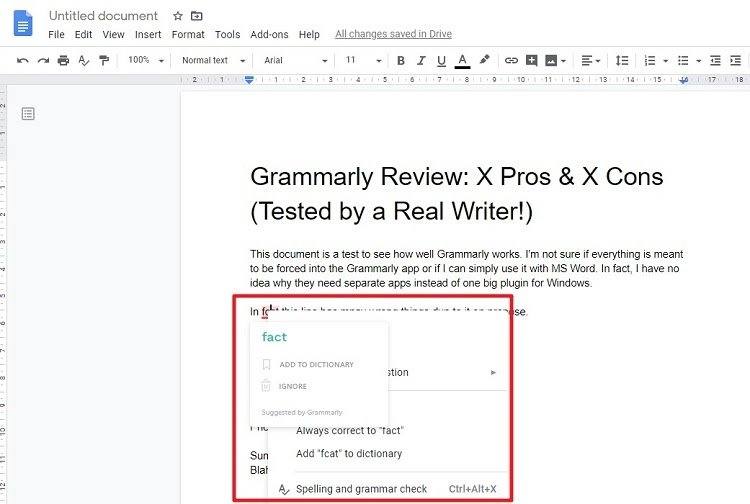 Uisng grammarly in Google doc