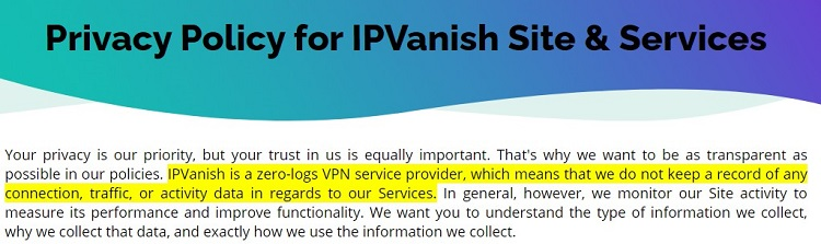 Privacy Policy for IPVanish Site & Services