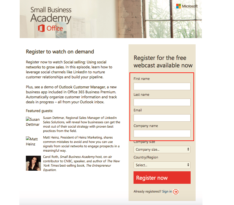 Example of the use of landing pages