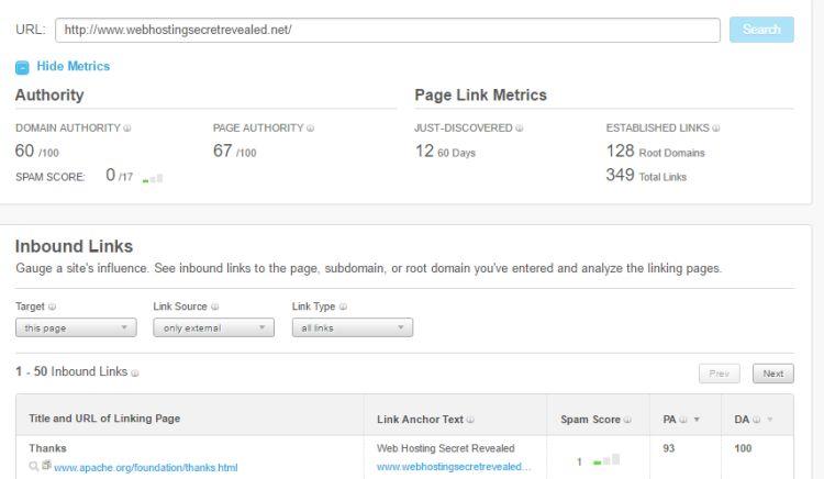 التحقق من مقاييس ارتباط موقع WHSR باستخدام متصفح Moz المفتوح.