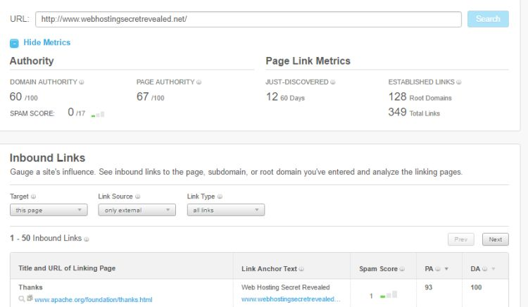 Moz의 Open Site Explorer를 사용하여 WHSR 사이트 링크 메트릭을 확인하십시오.
