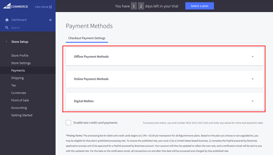 Bigcommerce payment methods