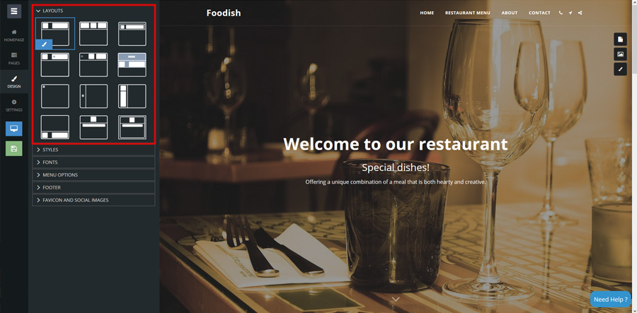 site123 responsive layouts