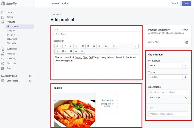 Adding a product to your inventory in Shopify