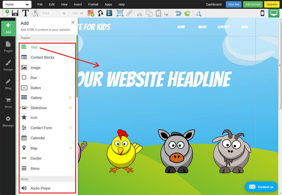 WebStarts editor